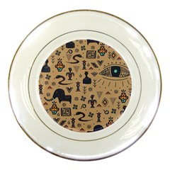Vintage Tribal Seamless Pattern With Ethnic Motifs Porcelain Plates