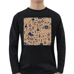 Vintage Tribal Seamless Pattern With Ethnic Motifs Long Sleeve Dark T-Shirt
