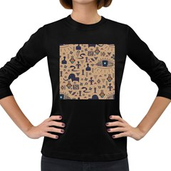 Vintage Tribal Seamless Pattern With Ethnic Motifs Women s Long Sleeve Dark T-Shirt