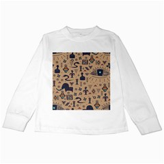 Vintage Tribal Seamless Pattern With Ethnic Motifs Kids Long Sleeve T-Shirts