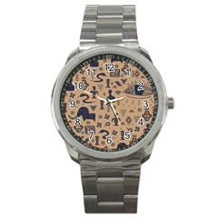 Vintage Tribal Seamless Pattern With Ethnic Motifs Sport Metal Watch