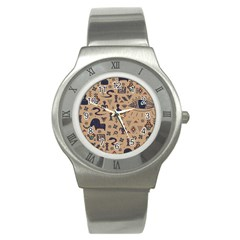 Vintage Tribal Seamless Pattern With Ethnic Motifs Stainless Steel Watch