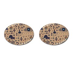 Vintage Tribal Seamless Pattern With Ethnic Motifs Cufflinks (Oval)