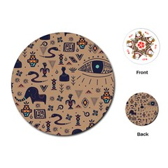 Vintage Tribal Seamless Pattern With Ethnic Motifs Playing Cards Single Design (Round)