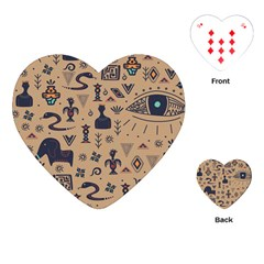 Vintage Tribal Seamless Pattern With Ethnic Motifs Playing Cards Single Design (Heart)