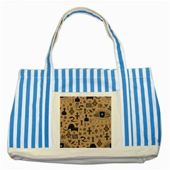 Vintage Tribal Seamless Pattern With Ethnic Motifs Striped Blue Tote Bag