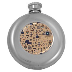 Vintage Tribal Seamless Pattern With Ethnic Motifs Round Hip Flask (5 oz)
