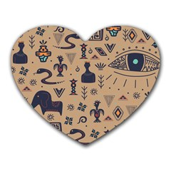 Vintage Tribal Seamless Pattern With Ethnic Motifs Heart Mousepads