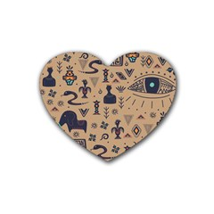 Vintage Tribal Seamless Pattern With Ethnic Motifs Rubber Coaster (Heart)