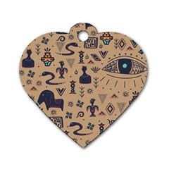 Vintage Tribal Seamless Pattern With Ethnic Motifs Dog Tag Heart (One Side)
