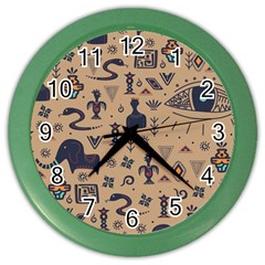 Vintage Tribal Seamless Pattern With Ethnic Motifs Color Wall Clock