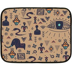Vintage Tribal Seamless Pattern With Ethnic Motifs Double Sided Fleece Blanket (Mini)