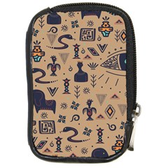 Vintage Tribal Seamless Pattern With Ethnic Motifs Compact Camera Leather Case