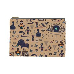Vintage Tribal Seamless Pattern With Ethnic Motifs Cosmetic Bag (Large)