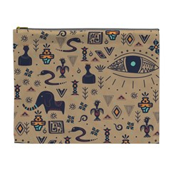 Vintage Tribal Seamless Pattern With Ethnic Motifs Cosmetic Bag (XL)