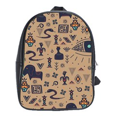 Vintage Tribal Seamless Pattern With Ethnic Motifs School Bag (Large)