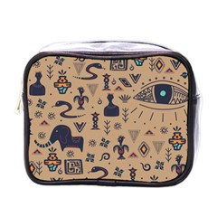 Vintage Tribal Seamless Pattern With Ethnic Motifs Mini Toiletries Bag (One Side)