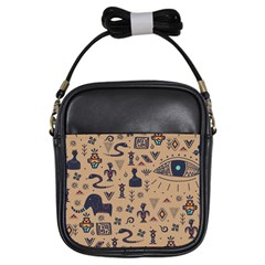 Vintage Tribal Seamless Pattern With Ethnic Motifs Girls Sling Bag