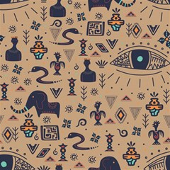 Vintage Tribal Seamless Pattern With Ethnic Motifs Magic Photo Cube