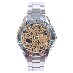 Vintage Tribal Seamless Pattern With Ethnic Motifs Stainless Steel Analogue Watch