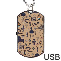 Vintage Tribal Seamless Pattern With Ethnic Motifs Dog Tag USB Flash (One Side)