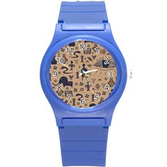 Vintage Tribal Seamless Pattern With Ethnic Motifs Round Plastic Sport Watch (S)