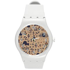 Vintage Tribal Seamless Pattern With Ethnic Motifs Round Plastic Sport Watch (M)