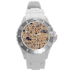 Vintage Tribal Seamless Pattern With Ethnic Motifs Round Plastic Sport Watch (L)