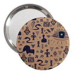 Vintage Tribal Seamless Pattern With Ethnic Motifs 3  Handbag Mirrors
