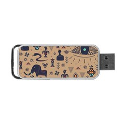 Vintage Tribal Seamless Pattern With Ethnic Motifs Portable USB Flash (One Side)