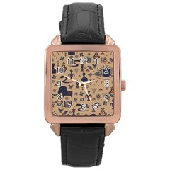 Vintage Tribal Seamless Pattern With Ethnic Motifs Rose Gold Leather Watch