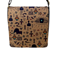 Vintage Tribal Seamless Pattern With Ethnic Motifs Flap Closure Messenger Bag (L)