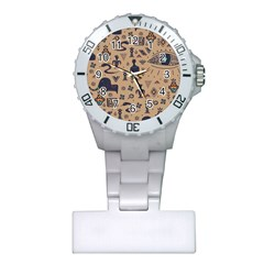 Vintage Tribal Seamless Pattern With Ethnic Motifs Plastic Nurses Watch