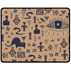 Vintage Tribal Seamless Pattern With Ethnic Motifs Double Sided Fleece Blanket (Medium)