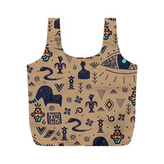 Vintage Tribal Seamless Pattern With Ethnic Motifs Full Print Recycle Bag (M)