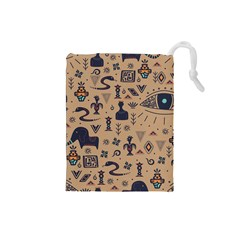 Vintage Tribal Seamless Pattern With Ethnic Motifs Drawstring Pouch (Small)