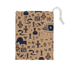 Vintage Tribal Seamless Pattern With Ethnic Motifs Drawstring Pouch (Large)