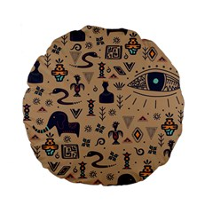 Vintage Tribal Seamless Pattern With Ethnic Motifs Standard 15  Premium Flano Round Cushions
