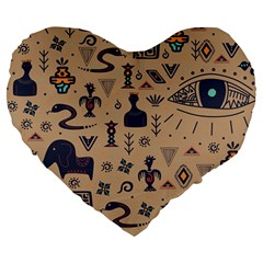 Vintage Tribal Seamless Pattern With Ethnic Motifs Large 19  Premium Flano Heart Shape Cushions