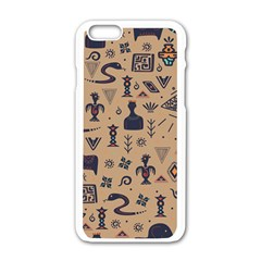Vintage Tribal Seamless Pattern With Ethnic Motifs iPhone 6/6S White Enamel Case