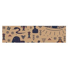 Vintage Tribal Seamless Pattern With Ethnic Motifs Satin Scarf (Oblong)