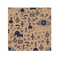 Vintage Tribal Seamless Pattern With Ethnic Motifs Small Satin Scarf (Square)