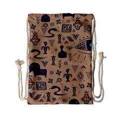 Vintage Tribal Seamless Pattern With Ethnic Motifs Drawstring Bag (Small)