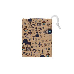 Vintage Tribal Seamless Pattern With Ethnic Motifs Drawstring Pouch (XS)