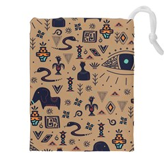 Vintage Tribal Seamless Pattern With Ethnic Motifs Drawstring Pouch (2XL)