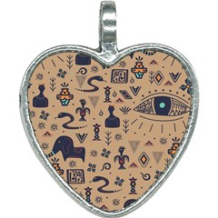 Vintage Tribal Seamless Pattern With Ethnic Motifs Heart Necklace