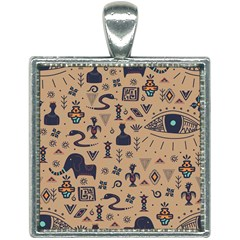 Vintage Tribal Seamless Pattern With Ethnic Motifs Square Necklace