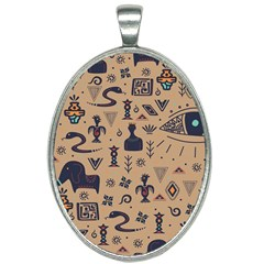 Vintage Tribal Seamless Pattern With Ethnic Motifs Oval Necklace
