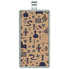 Vintage Tribal Seamless Pattern With Ethnic Motifs Rectangle Necklace