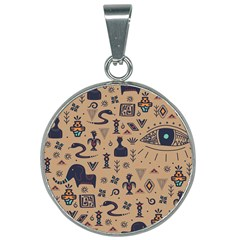 Vintage Tribal Seamless Pattern With Ethnic Motifs 25mm Round Necklace